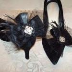 Black Bow Shoe Clips, Black..
