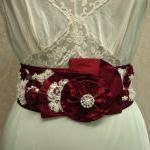 Red Bridal Sash - Beaded Sa..