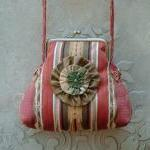 Striped Satin Damask Purse ..