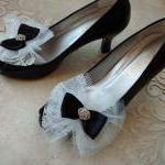 Glam Black Bow Shoe Clips /..