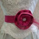 Pink Bridal Sash Belt / Sat..