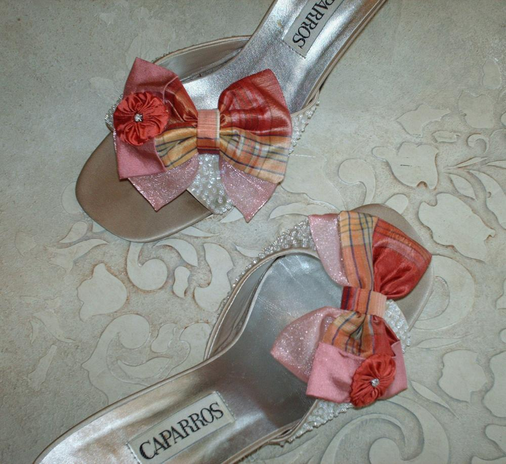 Coral And Pink Plaid Silk And Organza Double Bow Shoe Clips