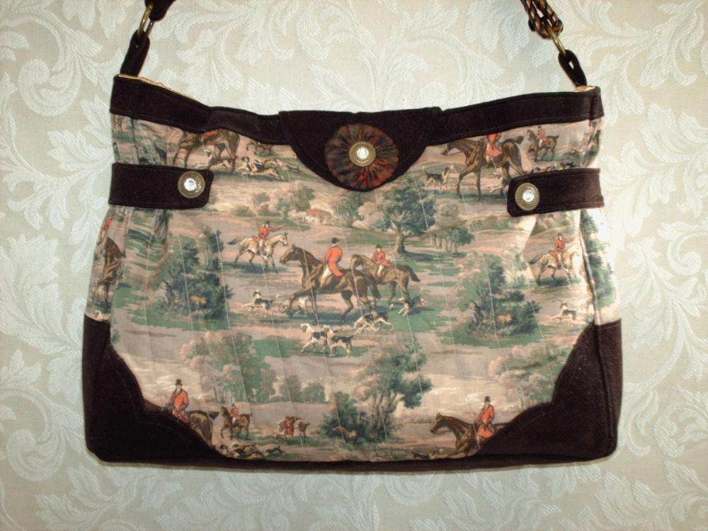 EQUESTRIAN FOX AND HOUND HUNT SCENE TOTE