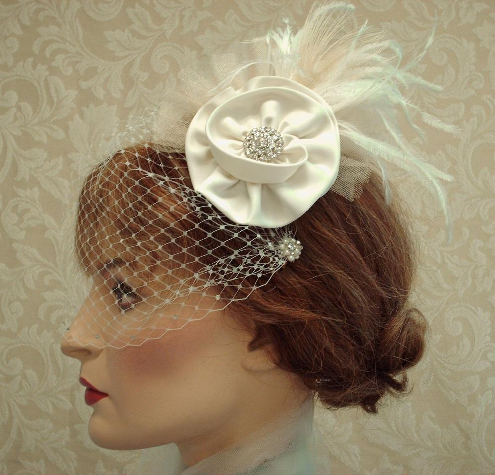 Flower Feather Fascinator, Wedding Satin Hair Clip, Birdcage Veil, Headpiece, Ivory, Edwardian Wedding, Retro Vintage, Carolina Moon Designs