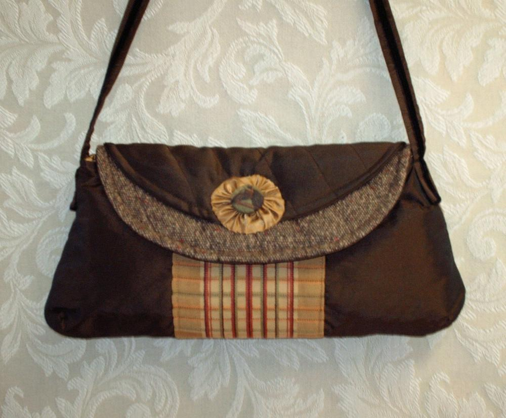 Brown And Gold Tweed And Taffeta Equestrian Clutch