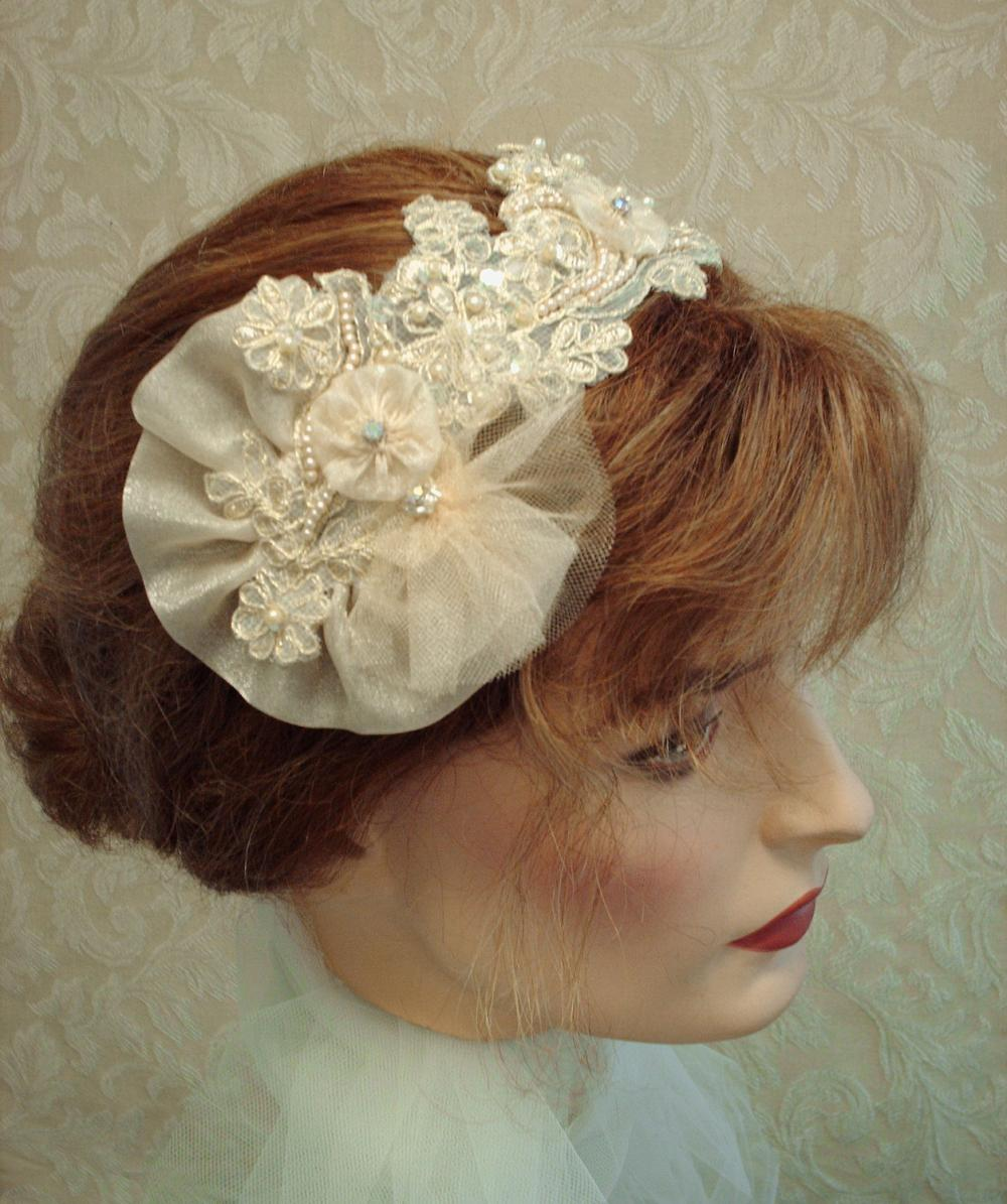 Champagne Gold Bridal Headband / Fascinator - Champagne And Gold Lace, Tulle, Shimmer Organza, Rhinestones, Wedding Headband