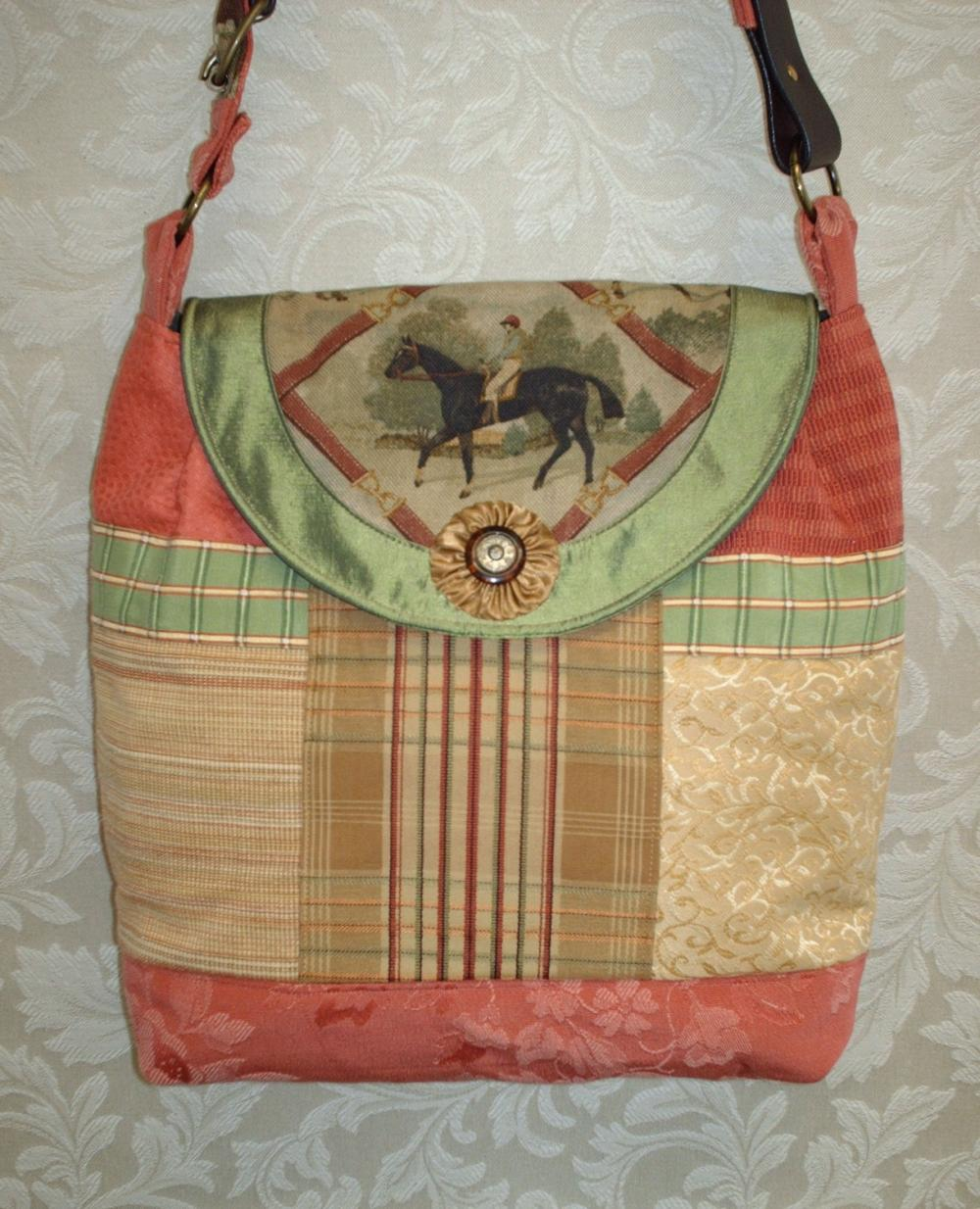 Equestrian Satchel Style Handbag / Coral Gold And Brown With Quilting