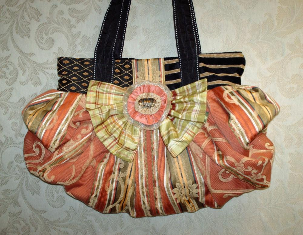 Large Boho Chic Carpet Bag In Tangerine Coral Green And Black With Silk Bow And Handcrafted Removable Brooch