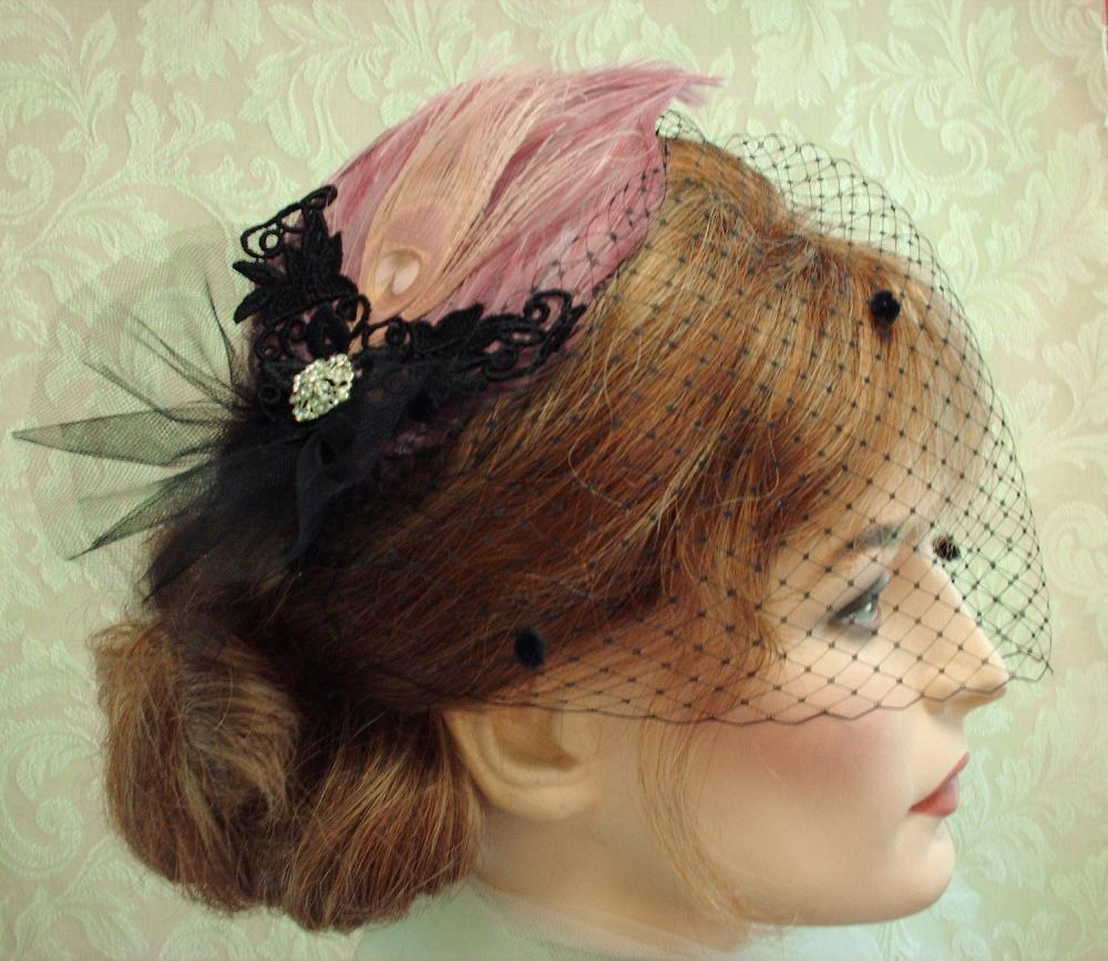 Diva Feather Fascinator With Black Chenille Dot Bandeau Style Birdcage Veil