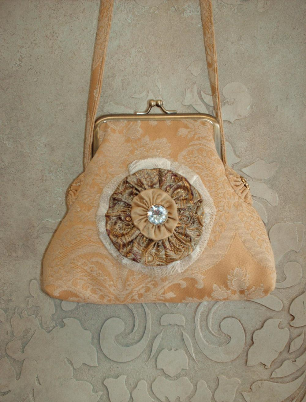 Gold Damask Tidbits Purse with Removable Handcrafted Brooch For Wedding Special Occasion Or Evening Out