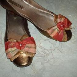 Dark Coral And Gold Plaid Silk And Organza Double Bow Shoe Clips