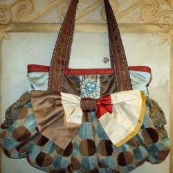 Large Couture Boho Carpet Bag For Fall / Powder Blue Red Gold And Brown With Turquoise Crystal and Pearl Vintage Coro Brooch