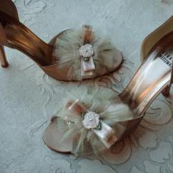 Bridal Shoe Clips - Wedding Shoe Clips - Glam Petit Tutu Gold Shimmer Tulle, Vintage Ribbon