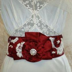 Red Bridal Sash - Beaded Sash, Vintage Ivory Lace, Pearls, Crystals, Rhinestone Sash