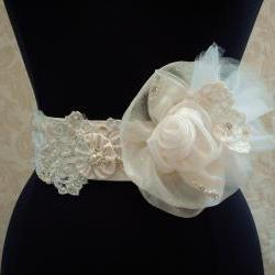 Beaded Bridal Belt Sash/ Vintage Ivory Lace, Satin, Organza, Illusion Tulle, Weddings