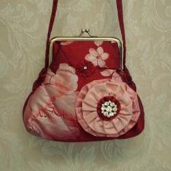 Quilted Silk Purse In Red and Pink Floral Painted Silk with Rosette Brooch For Wedding Special Occasion Or Evening Out