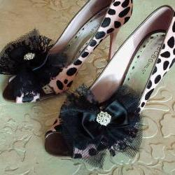 Glam Black Bow Shoe Clips / Lace Tulle And Satin Ribbon Bow Hair Clips