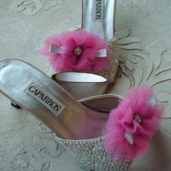 Glam Shoe Clips Bright Pink Tulle, Silver Bow And Rhinestones, Weddings, Bridal Shoe Clips