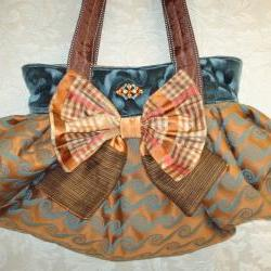 Boho Carpet Bag With Silk Bow And Vintage Brooch / Midnight Blue Autumn Gold and Rose