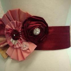 Glam Bridal Belt Handcrafted In Dark Red Taffeta Pink And Gold Silk For Autumn Or winter Wedding Or Reception