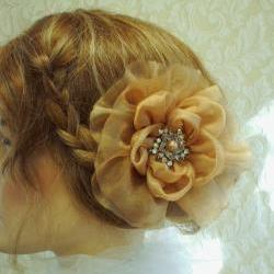 Organza Flower Hair Clip, Bridal Accessories, Weddings, Bridesmaids, Bride