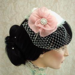 Eva Feather Fascinator With Organza Flower / Bridal Headband With Attached Russian Netting Veil