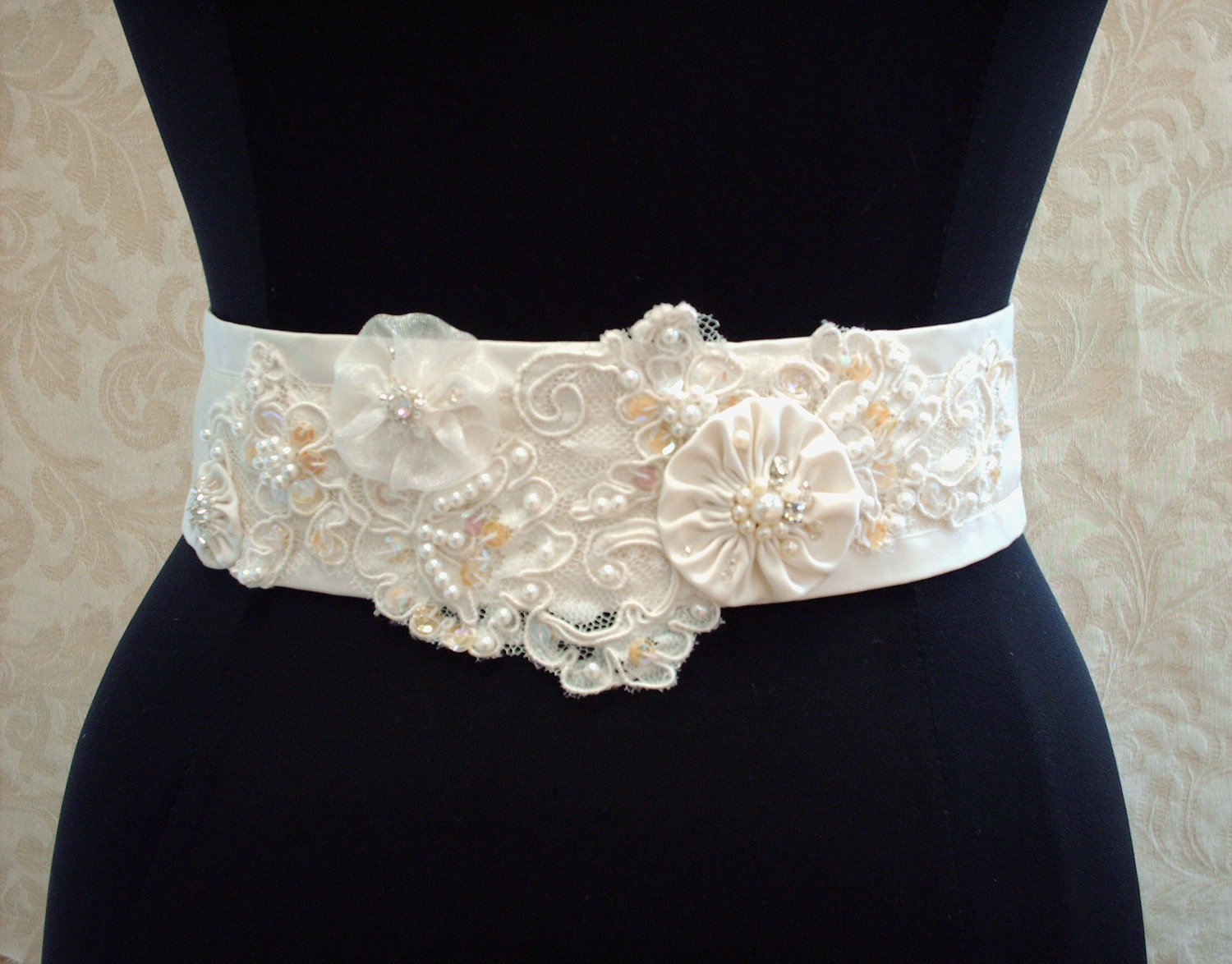 beaded wedding sash belt slash vintage ivory lace satin organza illusion tulle bridal sash wedding sash Beaded Wedding Sash Belt Vintage Ivory Lace Satin Organza Illusion Tulle Bridal Sash